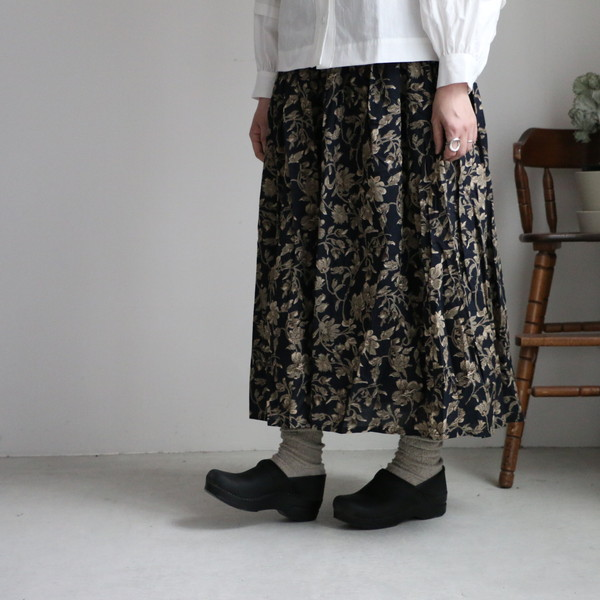 NSL20575  soil 60'S CAMBRIC FLOWER PRINT GATHERED skirt 2色