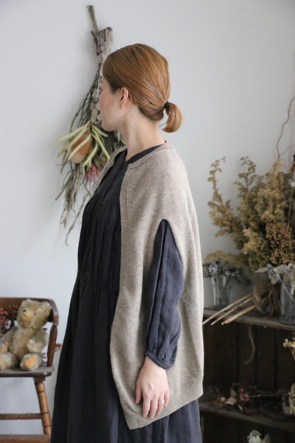 11314991 vlas blomme Wool Linen ピン付きコクーンボレロカーディガン 2色