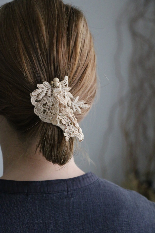 31738191 vlas blomme Leaf Litter Lace Hair Hook