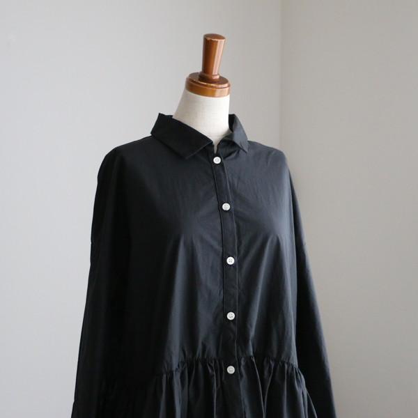 G540 Gauze# スゥイッチングギャザーシャツワンピース BLACK