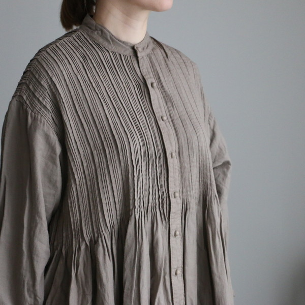 INMDS20703 maison de soil banded collar shirt dress with pleats 2色