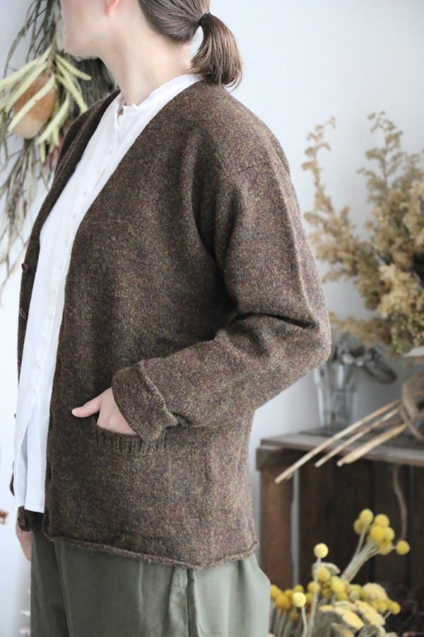 njms1754 Jamieson's Plain tight knit v neck cardigan 3色
