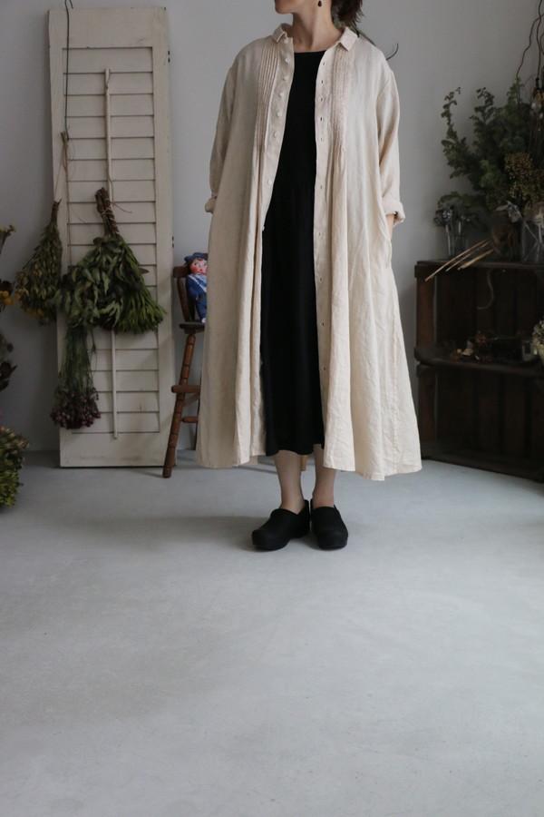 <SALE>13127181 vlas blomme ピンタックシャツワンピース エクリュ