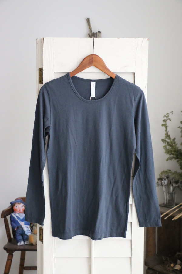 <SALE>90514 prit 42/1スビン天竺Uネック長袖Tシャツ 2色
