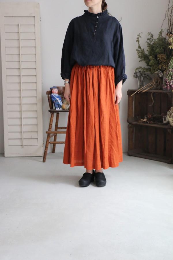 <SALE>13128181 vlas blomme リネンフリルブラウス 3色