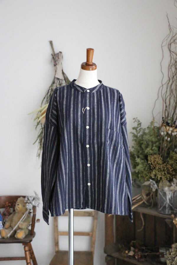 P80048 prit 16/1綿麻ストライプスタンドカラービッグシャツ