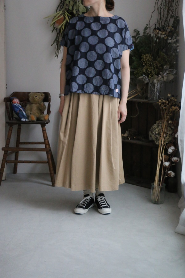 <SALE>92S-23 快晴堂 綿麻水玉TEE 2色