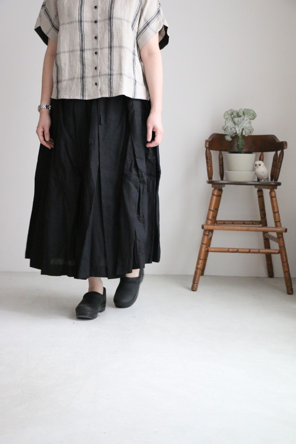 G504 Gauze# リネンプリーツスカート 2色