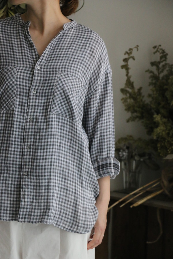 INAM1974DGC armen check utility banded collar shirt