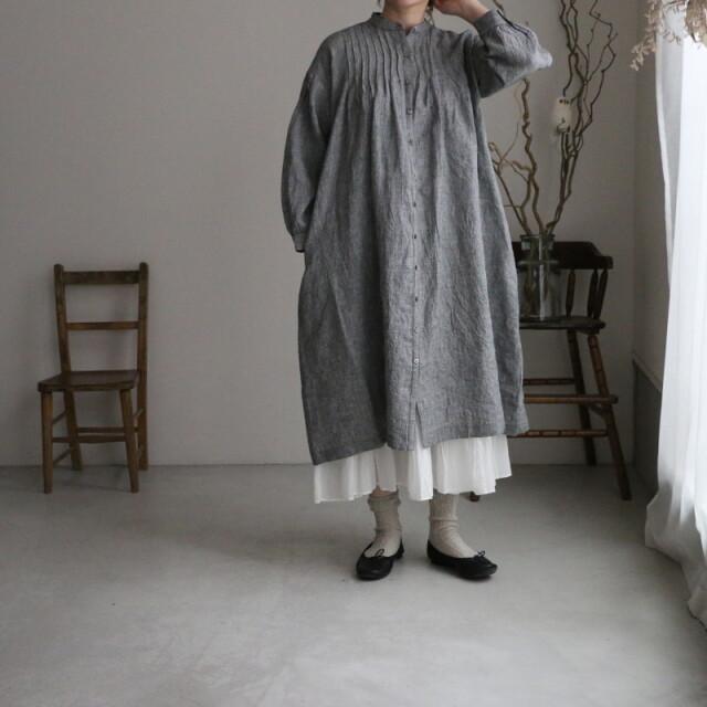 NSL21214 soil linen check banded collar pintuck tunic dress