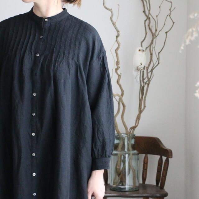 NSL21204 soil linen banded collar pintuck tunic dress 2色