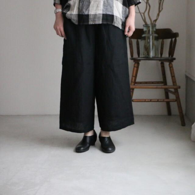NSL21206 soil linen plain wide easy pants 2色