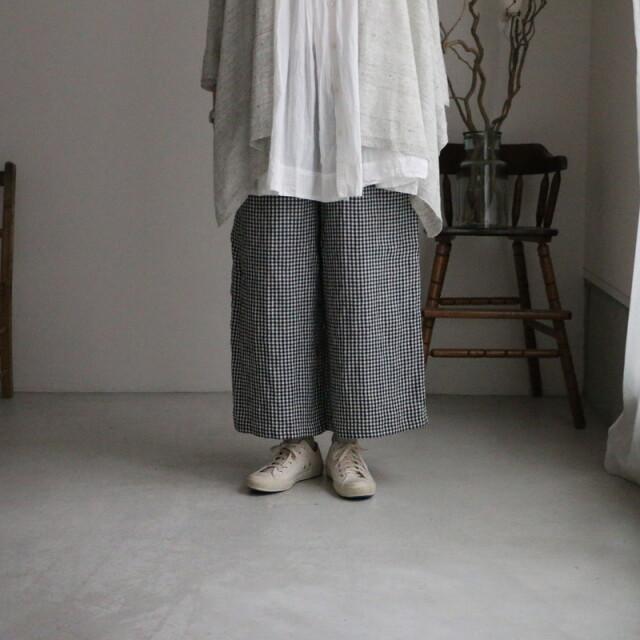 INSL21216 soil linen check wide easy pants 2色