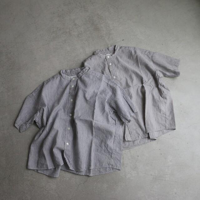 P82156 prit コットンリネンパレストライプ5分袖スタンドカラーワイドシャツ 2色