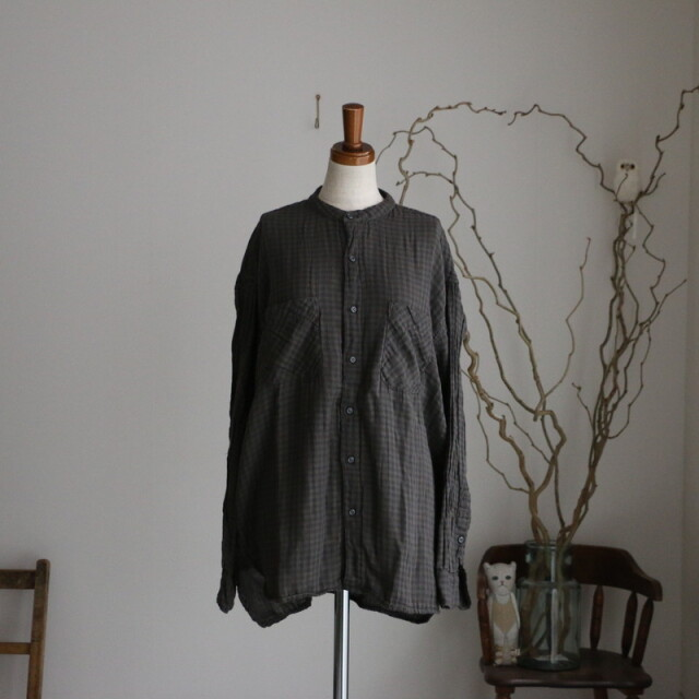 INAM1971DGD ARMEN utility banded collar shirt
