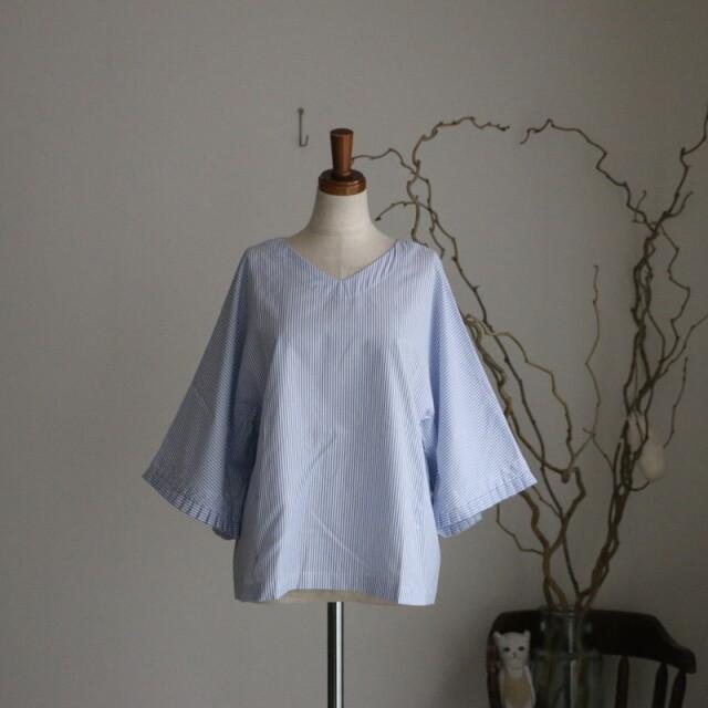 s007s  si si si コットンストライプ sleeve tuck blouse