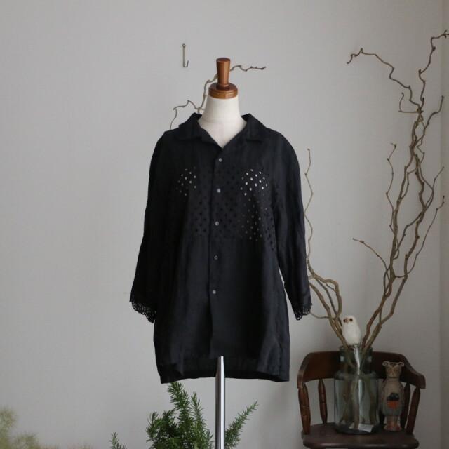ma008 mudoca  そらに引く ミドルスリーブシャツ ブラック