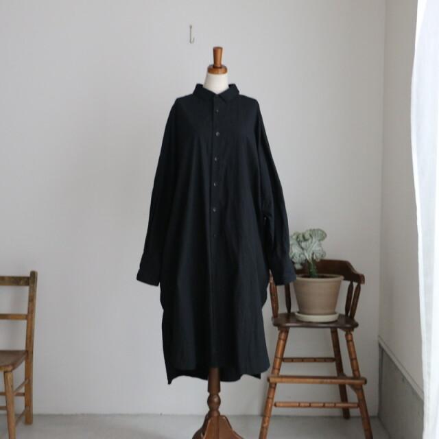 ST106 veritecoeur ロングシャツ BLACK