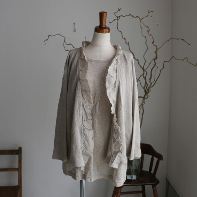 12311101 vlas blomme リネンカノコ フリルカーデ