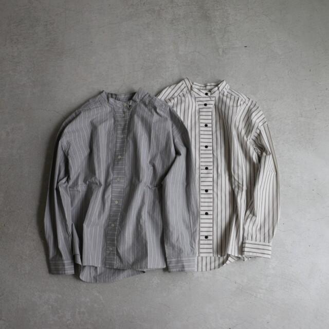 BL202 MAGALI オーガニックストライプバンドカラーシャツ 2色