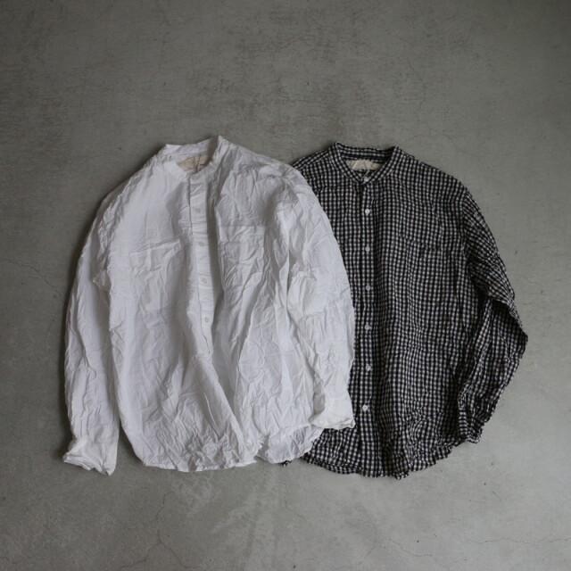 NVL1951CW Vas-y Lentement Band Collar L/SL Oversized shirt 2色