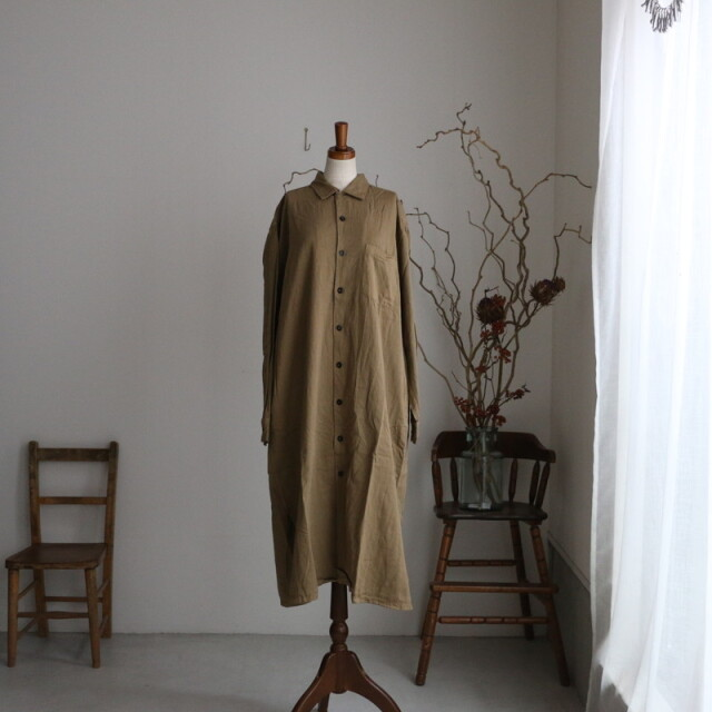 INHT2052CT HTS 40'S COTTON TWILL OVERDYED one-up collar long shirt 3色