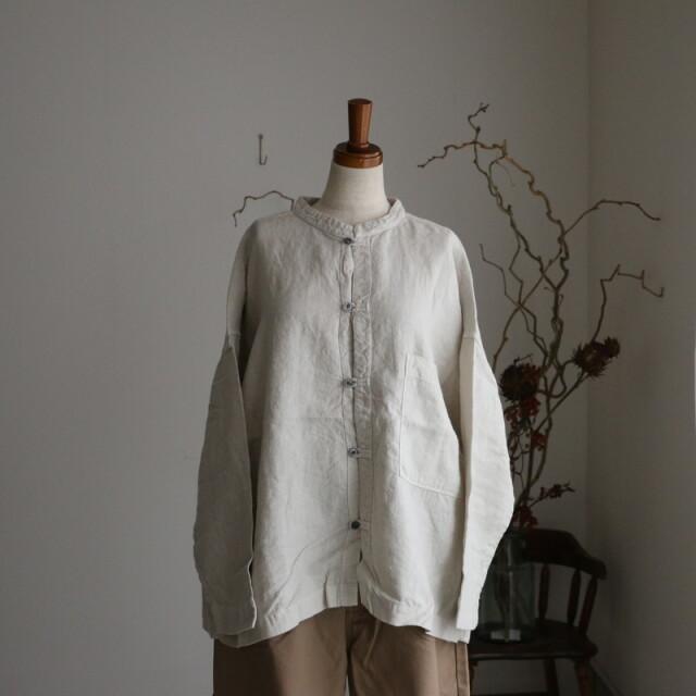 P80206 prit 40/1フレンチリネンキャンバス起毛スタンドカラービッグシャツ グレー