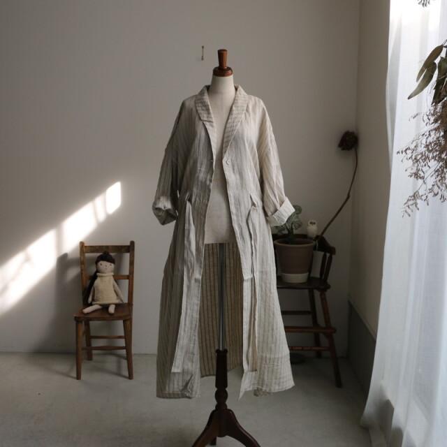 G579 Gauze# リネンドローストリングライトシャツコート