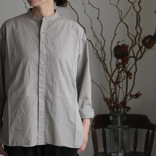 INAM1702PD ARMEN utility banded collar shirt  4色