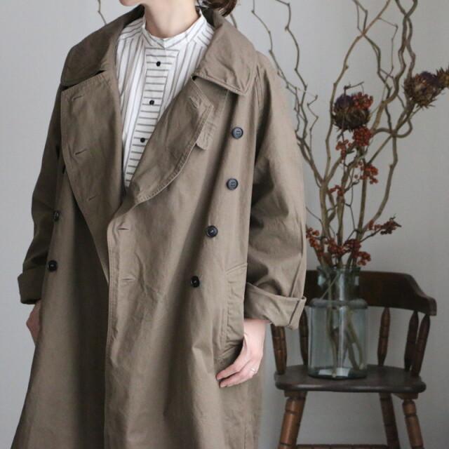 NHT2052DT HTS cotton double over coat  480B DK. KHAKI