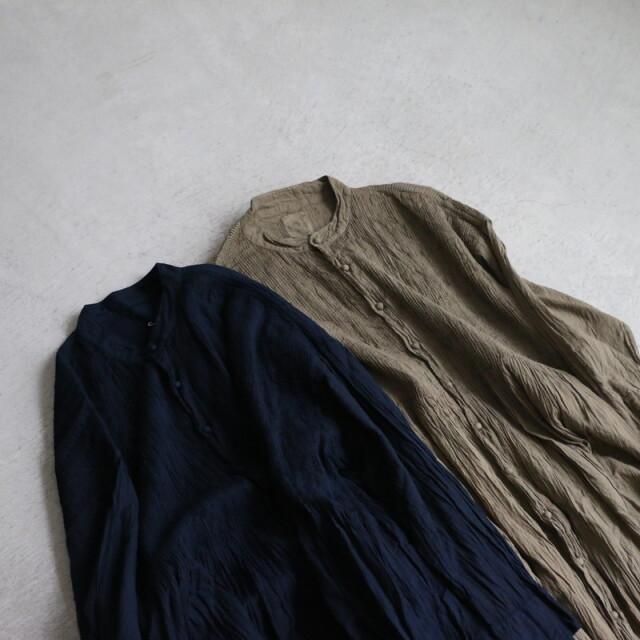 NMDS21183 maison de soil banded shirt dress with mini pintuck 2色