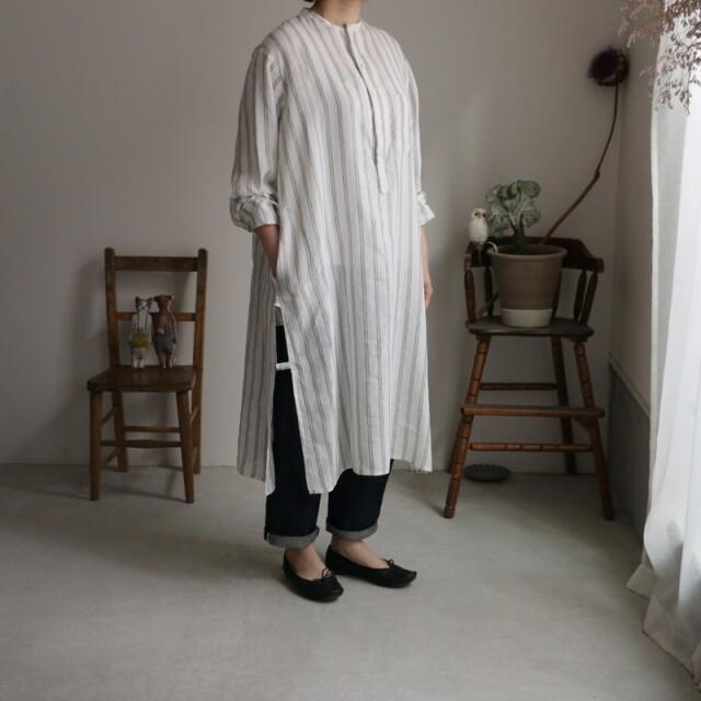13205031vlas blomme カフタンロングシャツ