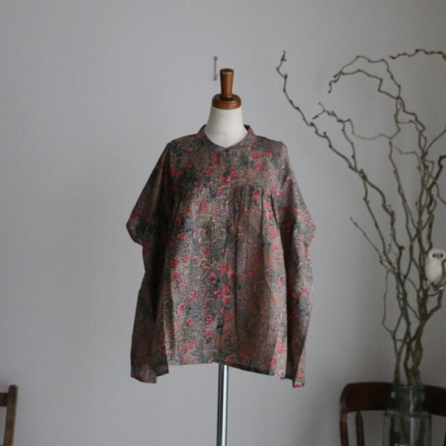NSL21052 soil banded collar gathered shirt