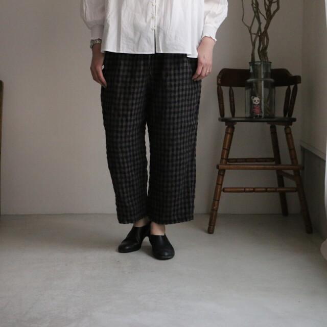 IMDSH2101LCD maison de soil linen check easy cropped pants 2色