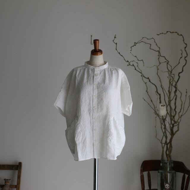 11S65 快晴堂 スプリングリネン Girl'sスタンドシャツ 2色