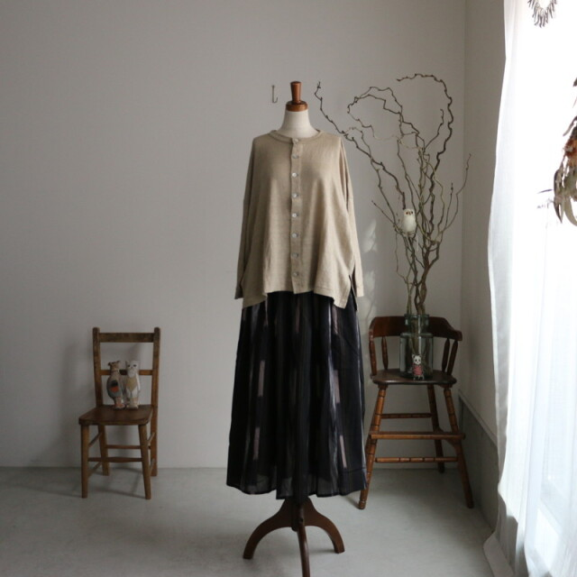 NSL21052 soil COTTON HANDLOOMED IKAT gathered skirt
