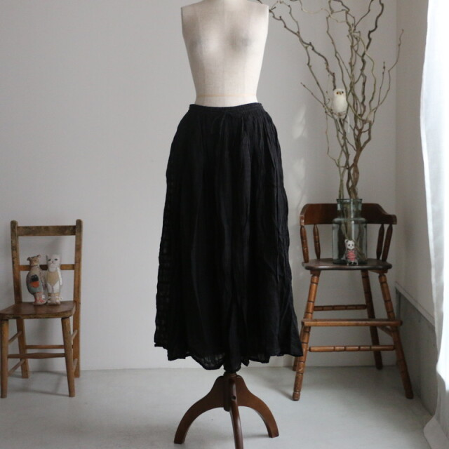 NSL21045 soil COTTON DOBIE CHECK PATCHWORK gathered skirt