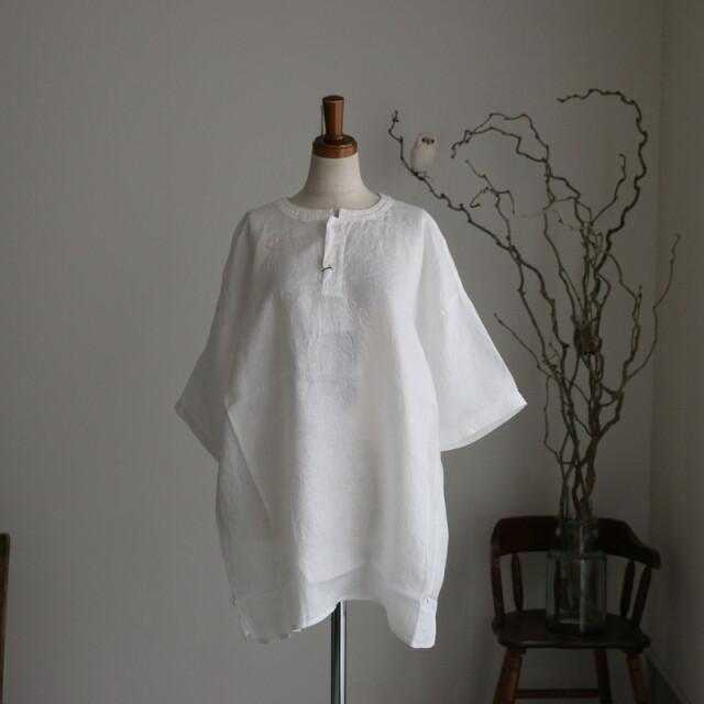 TS210SH081 TISSU  リネンヘンリーネックシャツ 2色