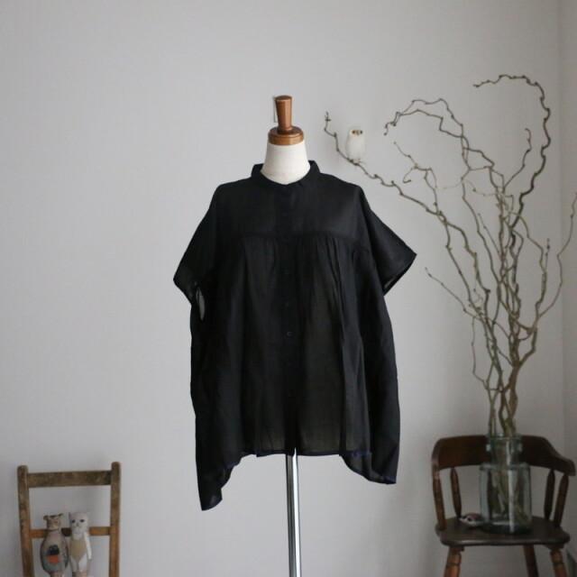 NSL21001 soil banded collar gathered french short sleeve shirt