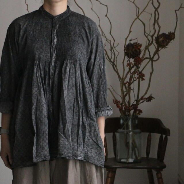 INMDS21761 maison de soil  minipintuck banded collar shirt 2色