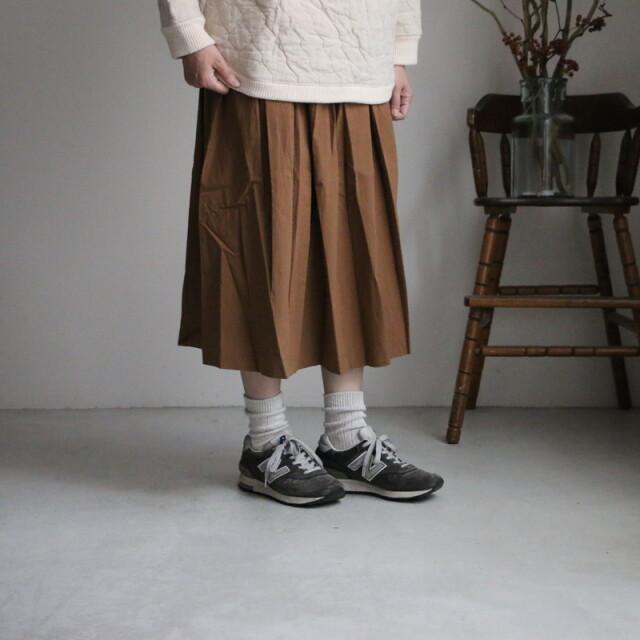 19-11211 French bullコットンギャザースカート ブラウン