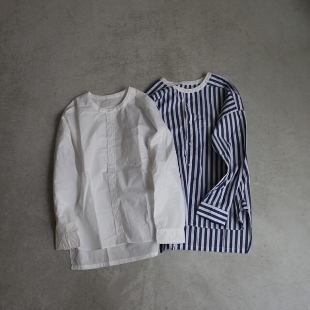 UT201SH040 UNIVERSAL TISSU  バーバーストライプ ワーキングシャツ 2色