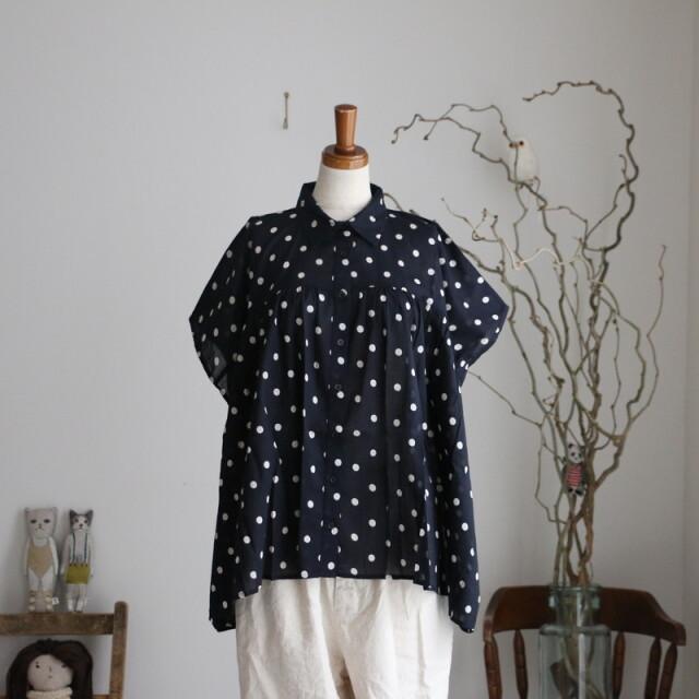 NSL21021 soil cotton voild dot gather shirt