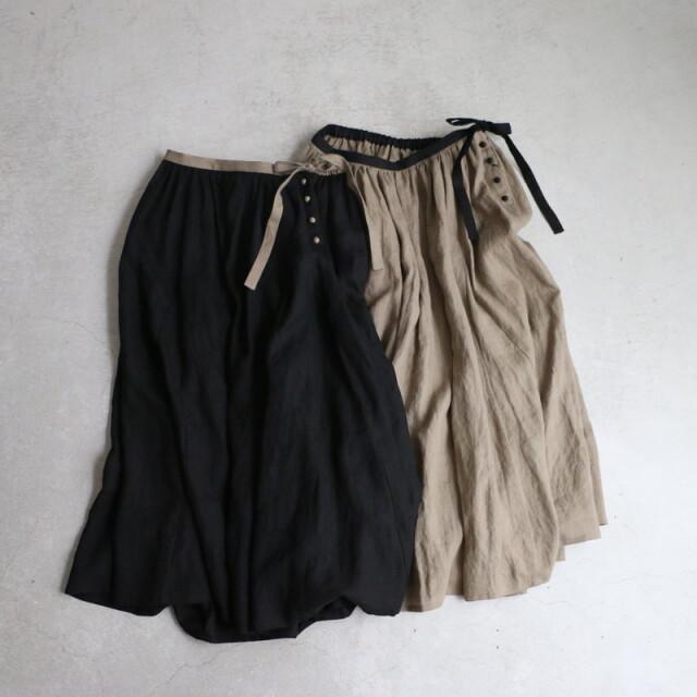UT101LS64 Utilite リネンギャザーフレアースカート 2色