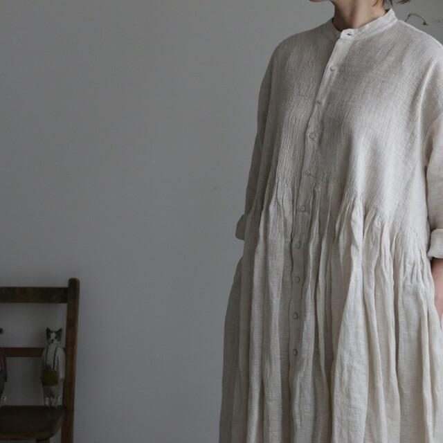 INMDS21004 maison de soil banded shirt dress with mini pintuck 2色