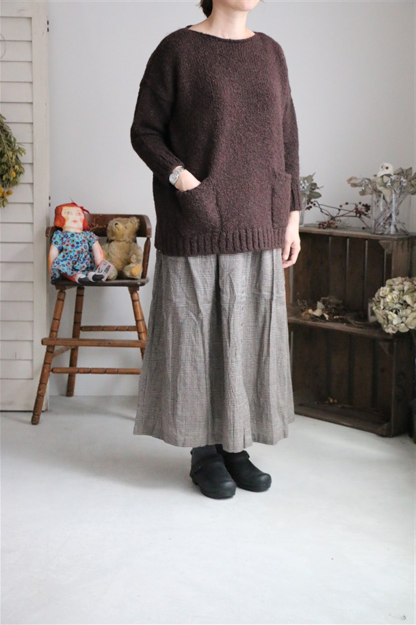 INSL18635 soil Wool Linen Gather Skirt  2色