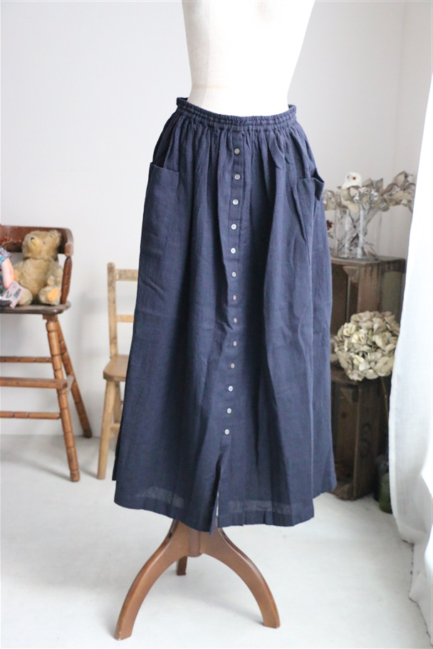 INSL18635 soil Wool Linen Gather Skirt