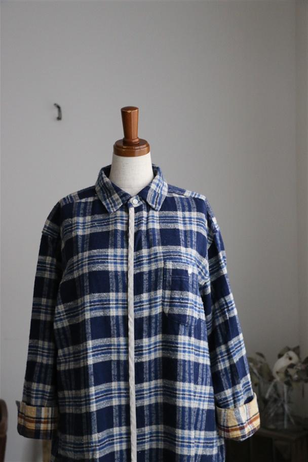 <SALE>63OP-06 快晴堂 Boy's&Girl'sチェックシャツワンピース 紺チェック