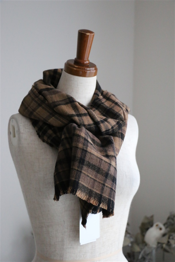 namp1751 ARMEN COTTON CHECK SCARF 2色