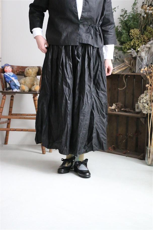 G363 Gauze オリジナルコーティングリネンプリーツスカート